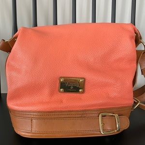 Valentina Italian Leather Convertible Bucket Hobo